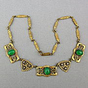 Miriam Haskell Russian Gilt Brass Necklace w/ Faux Emeralds