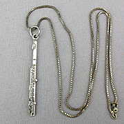 1980s Sterling Silver FLUTE Pendant Necklace Long Box Chain