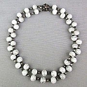 Vintage Miriam Haskell Two Strand Necklace Swirling Glass Beads