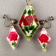 Encased Lucite Carved Rose Pendant Necklace w/ Earrings - Sterling Chain