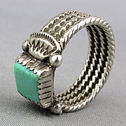 Vintage Navajo Sterling Silver Turquoise Ring Signed RT Ray Tracey