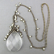 Vintage Teardrop Crystal Sterling Silver Necklace w/ Pearls