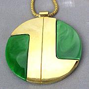 Modernist LANVIN PARIS Large Lucite Goldtone Pendant Necklace