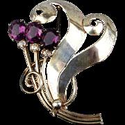 Art Deco Sterling Silver Rhinestone Pin Brooch - Sweeping Beauty