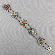 Vintage Chinese Flower Link Filigree Bracelet Coral - Jade