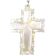 Victorian Carved Mother-of-Pearl Cross on Sterling Silver Chain