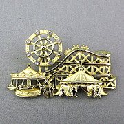 Signed Vintage Amusement Park Pin w/ Moving Ferris Wheel