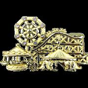 Signed Vintage Amusement Park Pin w/ Moving Ferris Wheel