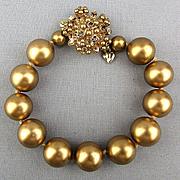 Vintage Carolee Pearlized Gold Ball Bracelet w/ Rhinestone Clasp