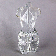 Vintage Signed Daum Clear Crystal Female Torso Figurine Paperweight French