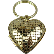 Vintage Whiting Davis Mesh Heart Pillbox Pendant Keychain