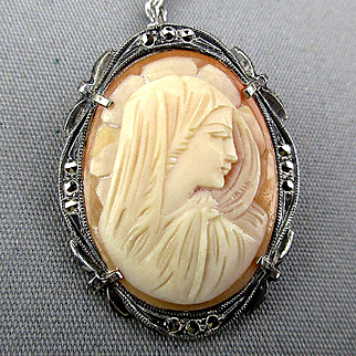 Art Deco 800 Silver Cameo Pin Pendant Carved Shell w/ Marcasite