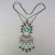 Vintage 1960s Tribal Pendant Necklace Turquoise Glass in Silvertone