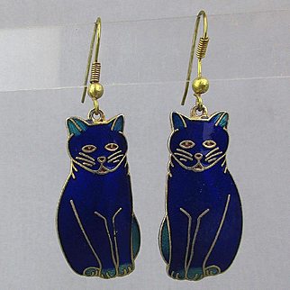 Vintage Enamel Cobalt Blue CAT Earrings by Fish & Crown