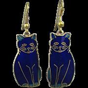 Vintage Enamel Cobalt Blue CAT Earrings by Fish & Crown