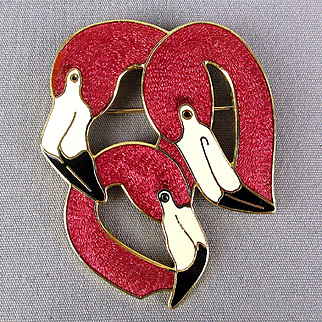 Vintage Big Enamel Pink Flamingo Pin by Fish & Crown Flamingos