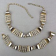 Art Deco Necklace Bracelet Set Rhinestones in Chrome
