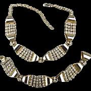 Art Deco Necklace Bracelet Set Rhinestones in Chrome