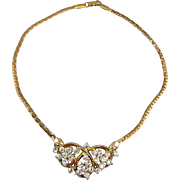 Vintage 1940s Rhinestone Necklace Glittery Deco
