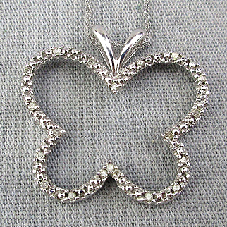 Estate 10K White Gold Butterfly Pendant Necklace w/ Diamonds