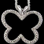 Estate 10K White Gold Butterfly Pendant Necklace w/ Diamonds