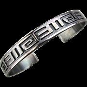 Vintage Sterling Silver Cuff Bracelet Maze Design Signed