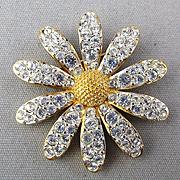 Vintage Swarovski Rhinestone Daisy Pin - Crystals