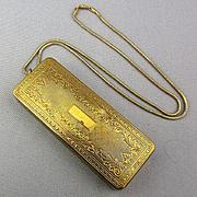 1920s Art Deco Du Barry Richard Hudnut Ornate Compact Box Pendant Necklace