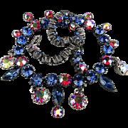 Vintage 1940s Rhinestone Necklace Multi Color Austrian Crystals