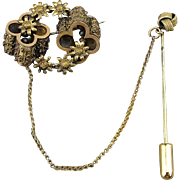 Victorian Two-Piece Brooch Pin / Stick Pin Combo Attached