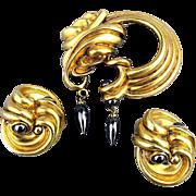 Vintage Designer Pin - Earrings Set Farenheit N.Y. 1980s Set