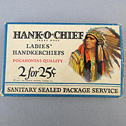 1921 HANK-O-CHIEF Box of 2 Handkerchiefs Hankies Indian Chief Graphics