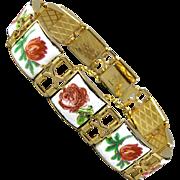 Vintage Enamel Link Bracelet - Roses