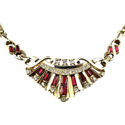 Art Deco LUSTERN Rhinestone Necklace Faux Diamonds - Rubies