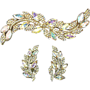 Vintage Mega Long Rhinestone Pin w/ Earrings - Aurora Borealis Bling