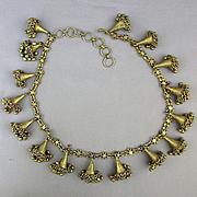 Vintage Rajasthan Tribal Dangles Bells Necklace Big Amulet