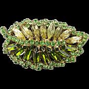 Signed Alice Caviness Rhinestone Leaf Pin Dazzler