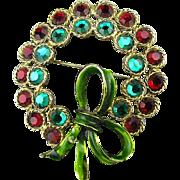 Vintage WEISS Rhinestone Christmas Wreath Pin