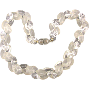 Vintage Lucite Bead Necklace Clear & Frosty