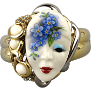 Jeweled Clamper Bracelet w/ Porcelain Face