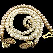 Vintage Mattel Barbie Faux Pearl Necklace Bracelet Girls Jewelry Set