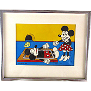 1978 Framed Original Painting Mickey Mouse Minnie Signed