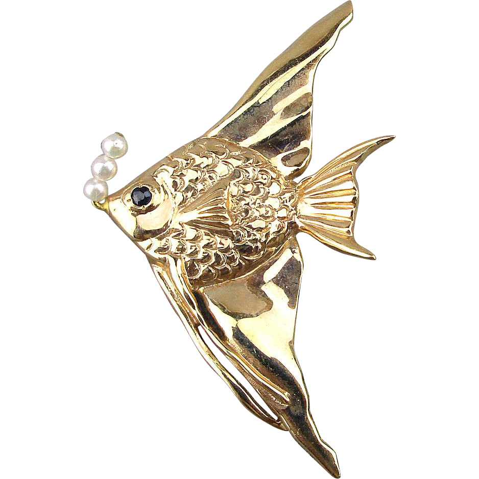 14k yellow gold fish pin pendant w pearl bubbles for Solid gold fish