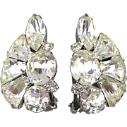 Vintage Eisenberg Rhinestone Clip Earrings c1950 Clear Crystal