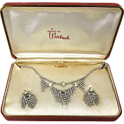 Vintage 1940s Rhinestone Set by Werbach - Unworn in Original Box - Necklace - Earrings