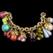 Vintage Napier Lucite Moonglow Charm Bracelet - Fruit Salad Tropicana