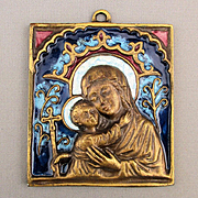 Vintage Bronze Enamel Wall Plaque by Dominique Piechaud