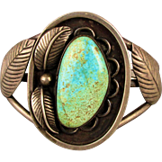 Old Sterling Silver Navajo Cuff Bracelet w/ Big Turquoise