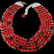 Vintage 5 Strand Red Glass Bead Necklace Unworn NOS