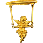 J.J. Jonette Cherub ANGEL on a Swing Pin Brooch - Moves